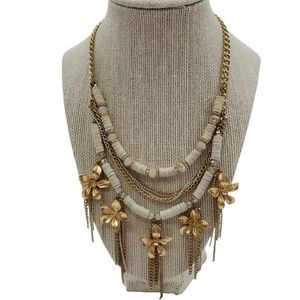Jewelry - Floral Chain Necklace Boho Hippie Tassel White Dan
